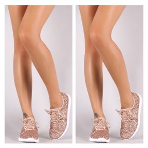 Shoes - Restocked- Rose Gold Glitter Sneakers, Gym Shoes